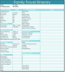 Itinerary Travel Template Excel Travel Itinerary Template Planner Sample Mediaschool Info