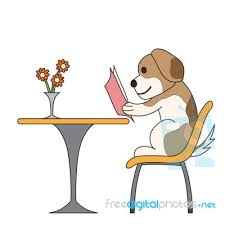 cartoon character dog reading book stock image