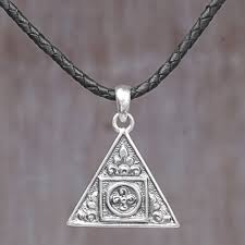 sterling silver and leather cord triangle pendant necklace triangle fl temple
