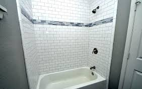 white tile with white grout white subway tile shower gray