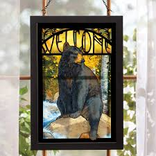 image of bear stained glass wall art