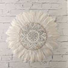 simple wall tribal mandala white and grey feathers round wall art boho design timber porthole with art t