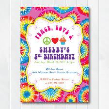 Peace Love Tie Dye Birthday Invitation