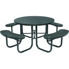 black commercial round picnic table