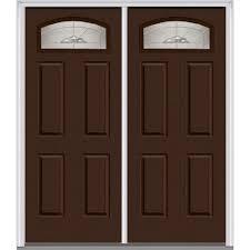 mmi door 60 in x 80 in master nouveau right hand inswing cambertop decorative gl 4 panel painted steel prehung front door z012626r the