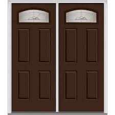 mmi door 60 in x 80 in master nouveau right hand inswing cambertop decorative glass 4 panel painted steel prehung front door z012626r the home depot