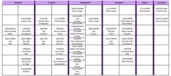 Schedule Debis Dance Studio