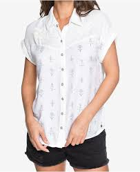 Patterned Button Up Shirts Delectable Roxy Juniors' Western Window Printed ButtonUp Shirt Tops