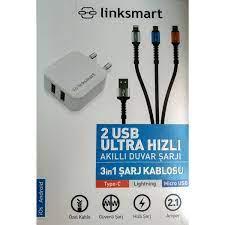 Linksmart 2 USB Ultra Hızlı Şarj+ 3in1 Şarj Kablosu Fiyatı