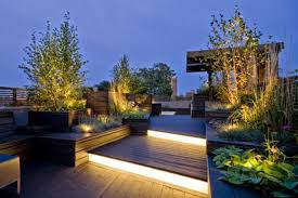 decorative LED lights for terrace: green terrace lit by LED ribbons