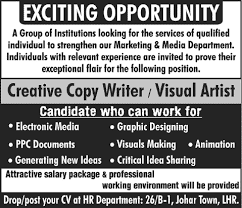creative copy writer visual artist jobs in lahore  creative copy writer visual artist jobs in lahore 2013 latest