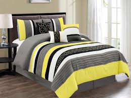7 pc jaden medallion clover star embroidery pleated striped comforter set yellow black gray white queen