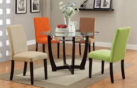 Contemporary Round Dining Table For 6 Pieces Rounded Glass Top Dining Table Set Stainless Steel