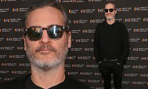 Joaquin Phoenix goes casual-chic in black at <b>Mercy</b> For Animals ...