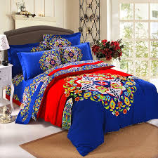 royal blue red and yellow colorful bohemian style folklore pattern indian tribal print fantasy brushed cotton full queen size bedding sets