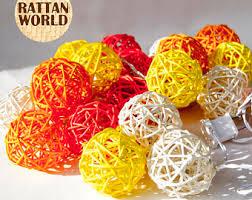 oriental lighting. Rattan Balls Oriental Lighting / Garland Festive Decoration White - Yellow Ornge Red W