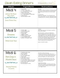 Balanced Diet Chart For A Week Clean Eating Meal Plan 100 Free Includes Breakfast