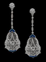 chandelier earrings with sapphires and 3 carats of diamonds in platinum