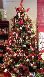 christmas trees decorated in red and silver. Delighful Silver Christmas Tree Decoration With Silver And Red Ornaments Combined Round  White Beads Placed Beside Brown Intended Trees Decorated In R
