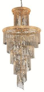 spiral 41 light gold chandelier clear spectra swarovski crystal
