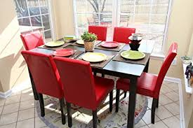 Red dining table set Coaster 101683 Image Unavailable Amazoncom Amazoncom Pc Red Leather Person Table And Chairs Red Dining