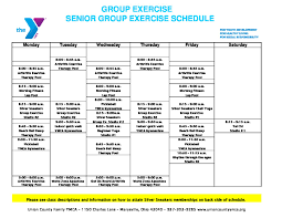 Senior Group Exercise Schedule Union County Family Ymca