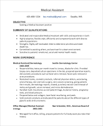 Medical Assistant Objective Statement Sample Medical Assistant Resume 7 Examples In Pdf