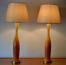 pair of tall mid century modern orange yellow ombre glazed ceramic throughout table lamps idea 3