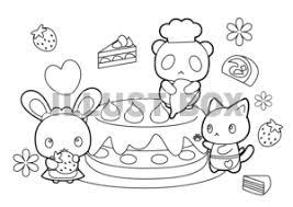 無料イラスト ケーキ屋さんぬり絵のイラスト