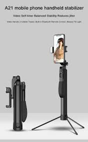 Stick N Shoot Light Purchased A21 Mobile Phone Handheld Stabilizer Bluetooth Remote Control Video Shooting Tripod 80cm Phone Selfie Stick Monopod Black