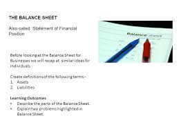 definitions of balance sheet the balance sheet also called statement of financial position ppt