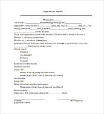 Example Of Minutes Template Under Fontanacountryinn Com