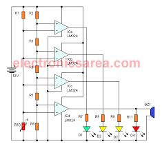 temperature to voltage converter using thermistor (pcb Auto Meter Gauge Wiring Diagram Voltage 12vdc to 9vdc converter · temperature gauge circuit using the lm324 ic Auto Meter Volt Gauge Wiring