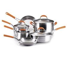 rachael ray pan set. Simple Ray Amazoncom Rachael Ray Stainless Steel 10Piece Cookware Set Orange  Kitchen U0026 Dining With Pan Set 4
