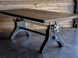 American Vintage Industrial Reclaimed Wood & Steel Crank Dining Table -  Industrial Wood + Metal