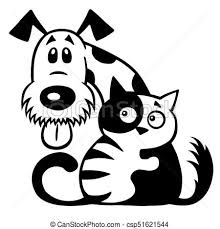dog and cat black and white. Contemporary And Cat And Dog Friendship Black White  Csp51621544 With Dog And Cat Black White Y