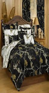 bedroom ideas sheet set black and white reversible realtree bedding also pillowcase with nightstand table lamp