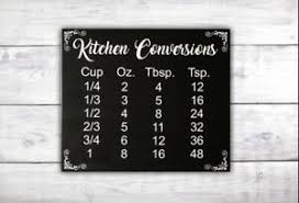 Kitchen Conversion Chart Decor Details About Kitchen Conversions Sign Housewarming Gift Kitchen Decor Conversion Chart