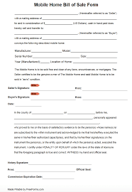 Sample Bill Of Sale Free Bill Of Sale Template For Mobile Home Printable Texas