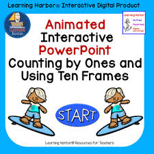 Powerpoint Frame Theme Counting And Using Ten Frames Beach Theme Animated Interactive Powerpoint