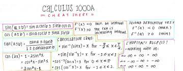 calculus review sheet calculus 1000 final exam cheat sheet notexchange