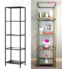 shelving unit spray painted gold 3 cans rust metallic paint in pure 1 piece of glass glass shelf