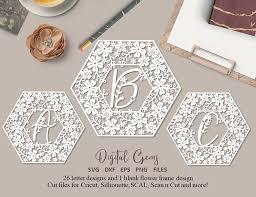 Alphabet Hexagon Flower Paper Cut Designs Svg Dxf Eps Png Files