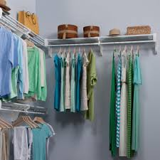 steel closet organizer kit with 3 expandable shelf and rod units in white with 2 end brackets