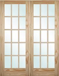 5 0 6 8 tall 15 lite pine interior prehung double wood door unit