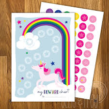 Printable Unicorn Kids Reward Chart With Reward Stickers
