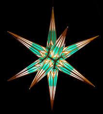 Haßlauer Weihnachtsstern Für Innen Und Außen Minttürkisweiß Mit Goldmuster Inkl Beleuchtung 75 Cm