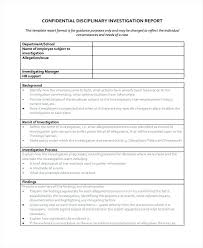 Disciplinary Forms For Employees Free Investigation Report Templates Free Sample Example Format Employee