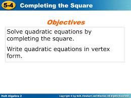 ppt solve quadratic equations by