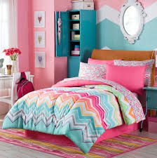 Happy Chevron Girls Teen Twin Comforter +Sham + COTTON Sheets + Bedskirt  and Home Style Brand Sleep Mask Piece Bedding Bundle) -